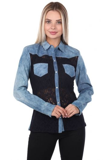 Синяя белая женская джинсовая рубашка - Thumbnail