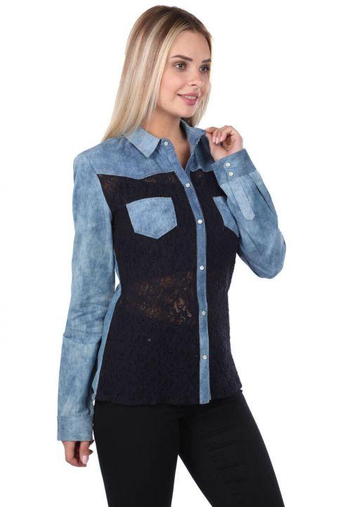 Синяя белая женская джинсовая рубашка