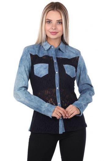 Blue White Women Jean Shirt - Thumbnail