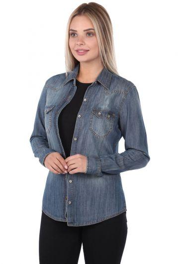 BLUE WHITE - قميص جينز نسائي أزرق أبيض (1)