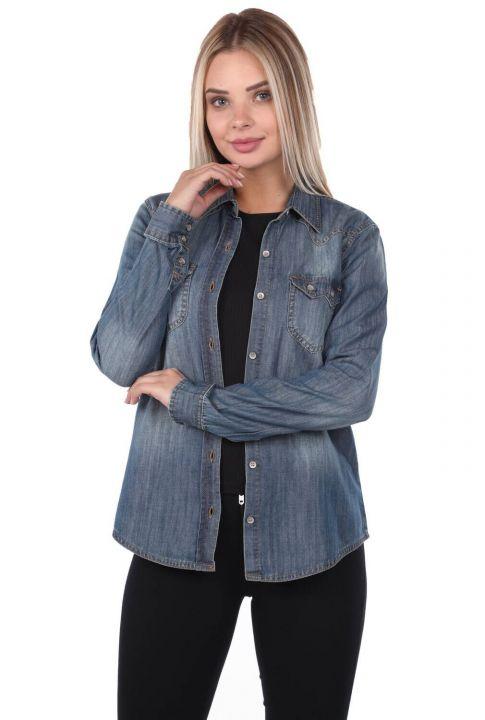 Blue White Women Jean Shirt