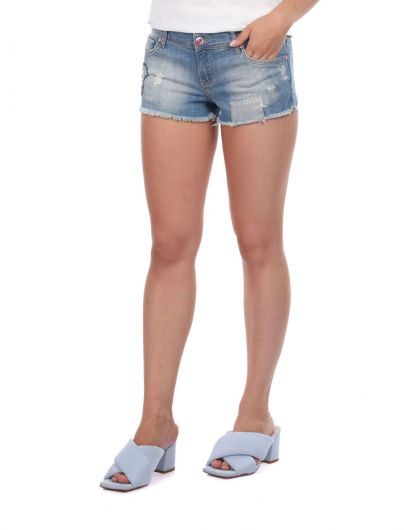 BLUE WHITE - Синие белыеженские джинсовые шорты (1)