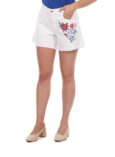 Синие белые женские шорты с цветочным узором - Thumbnail