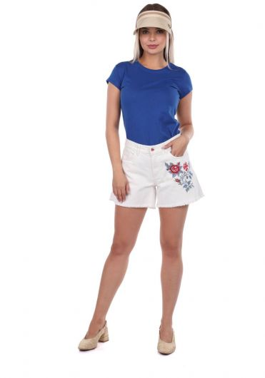 Blue White Women's Floral Patterned Shorts - Thumbnail