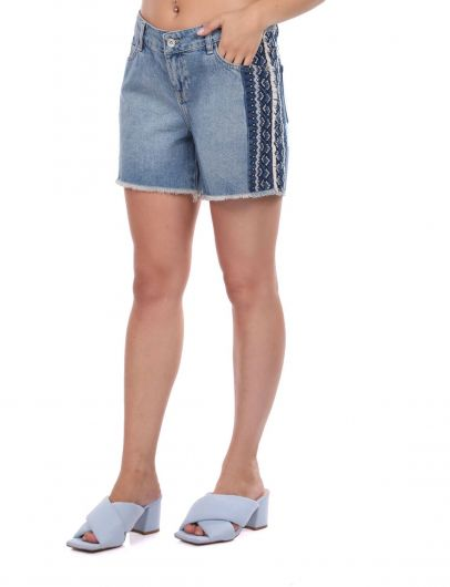 BLUE WHITE - Blue White Women's Jean Shorts (1)