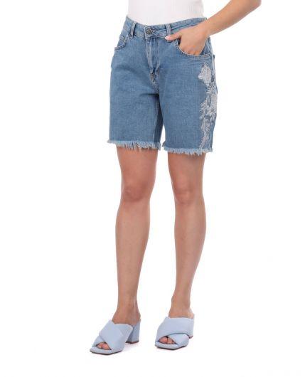 BLUE WHITE - شورت جينز نسائي أبيض أزرق (1)