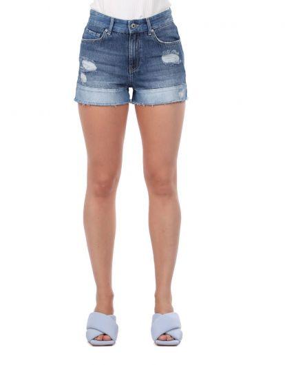 Синие белые женские шорты - Thumbnail