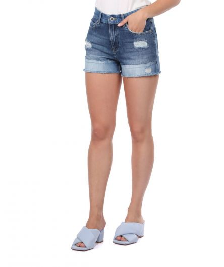 BLUE WHITE - Blue White Women's Shorts (1)