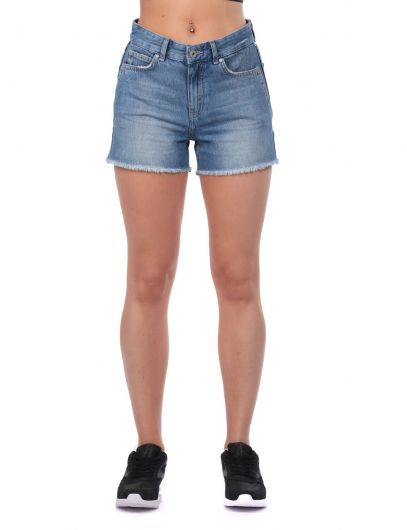 Blue White Women's Shorts - Thumbnail