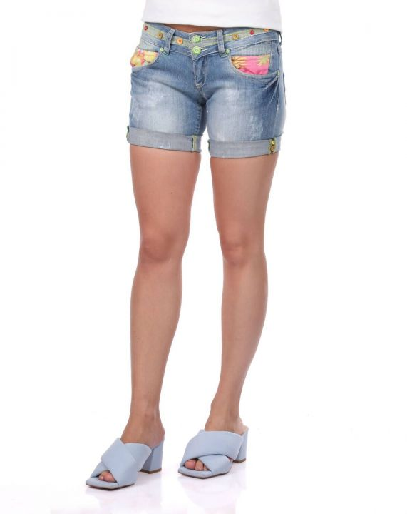 Синие белые женские джинсовые шорты