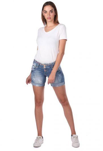 شورت جينز نسائي أبيض أزرق - Thumbnail