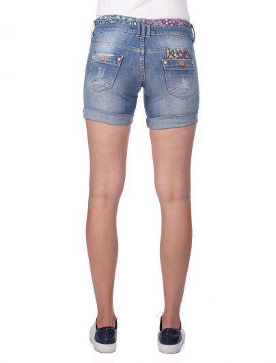 Синие белые женские джинсовые шорты - Thumbnail