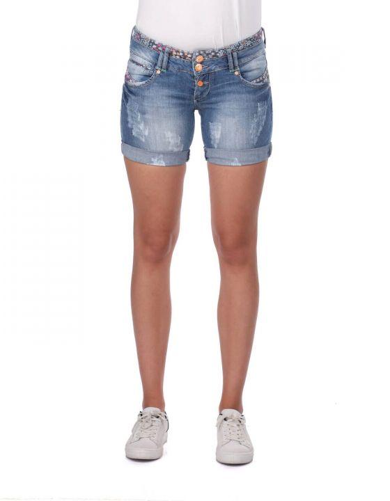 Blue White Women's Jean Shorts