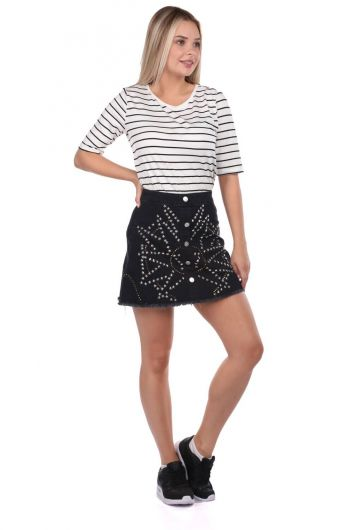 Blue White Women's Patterned Mini Skirt - Thumbnail