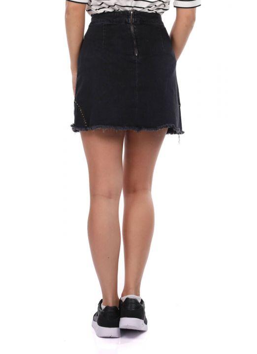 Сине-белая женская мини-юбка с рисунком
