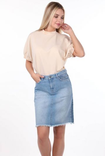 تنورة جينز نسائية زرقاء وبيضاء - Thumbnail
