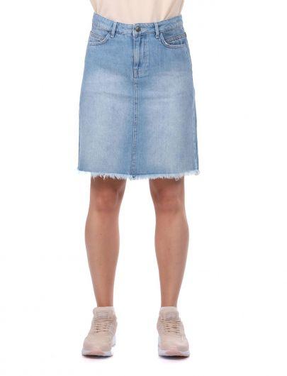 Blue White Women Jean Skirt - Thumbnail