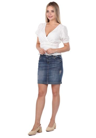 Blue White Women Jean Skirt - Thumbnail