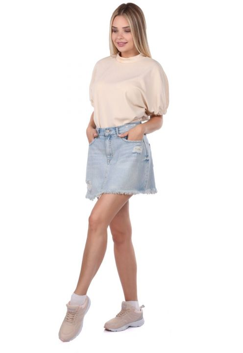 Blue White Women Jean Skirt