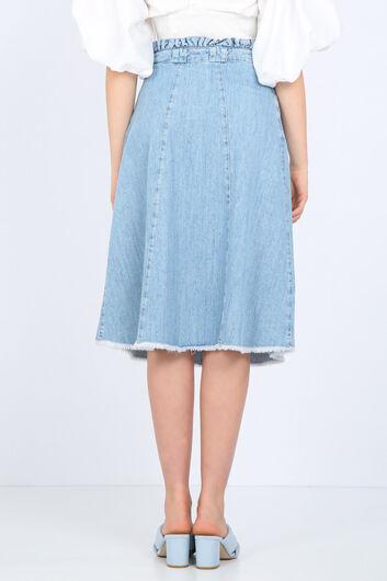 BLUE WHITE - تنورة جان مزينة بخصر أزرق وأبيض للنساء (1)