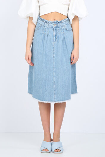 Blue White Women's Waist Detailed Jean Skirt - Thumbnail