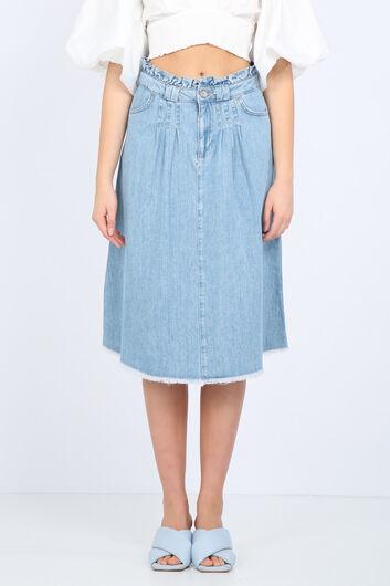 Сине-белая женская джинсовая юбка с детализированной талией - Thumbnail