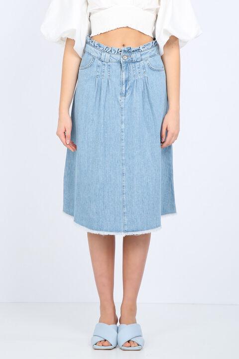Сине-белая женская джинсовая юбка с детализированной талией