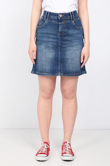 تنورة جينز منسوجة من قماش أبيض أزرق للنساء - Thumbnail