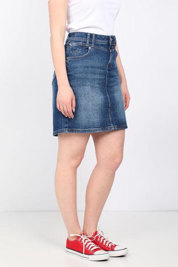 BLUE WHITE - تنورة جينز منسوجة من قماش أبيض أزرق للنساء (1)