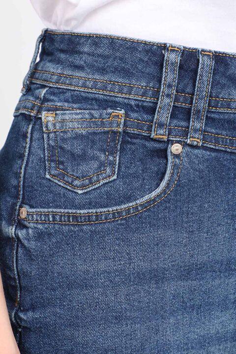 تنورة جينز منسوجة من قماش أبيض أزرق للنساء