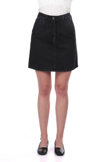 Blue White Black Jean Skirt - Thumbnail