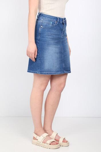 BLUE WHITE - تنورة جينز زرقاء بيضاء نسائية فوق الركبة (1)