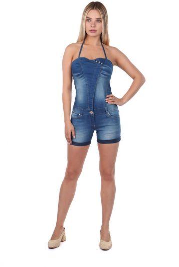 Blue White Women Slim Strap Jean Jumpsuit Shorts - Thumbnail