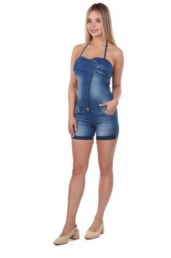 BLUE WHITE - Blue White Women Slim Strap Jean Jumpsuit Shorts (1)