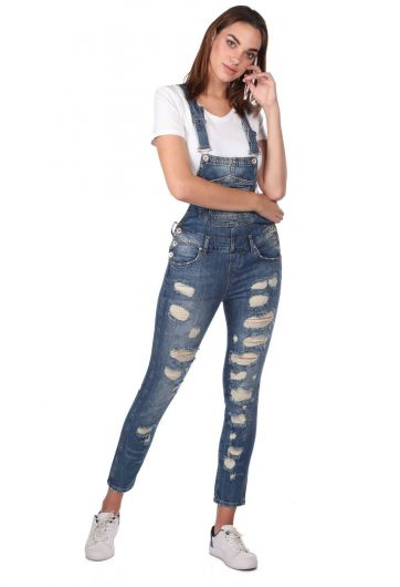 BLUE WHITE - Blue White Women Jean Jumpsuit Trousers  (1)