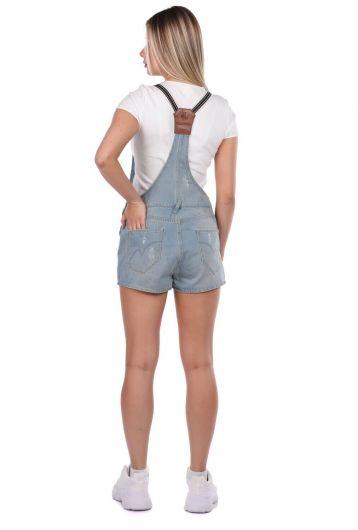 Blue White Women's Jean Jumpsuit Short - Thumbnail