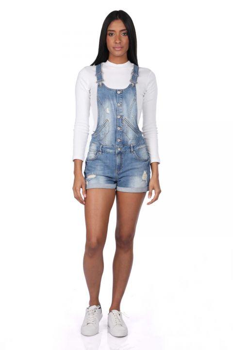 Blue White Women's Jean Jumpsuit Short