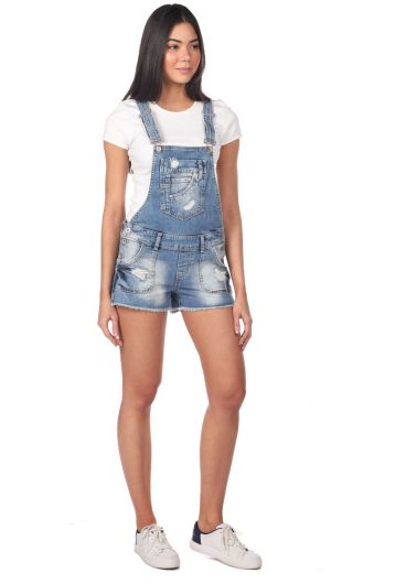 BLUE WHITE - Blue White Women's Jean Jumpsuit Short (1)