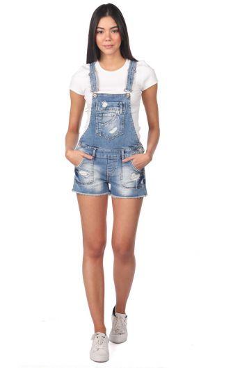 Синий Белый женский джинсовый комбинезон короткий - Thumbnail
