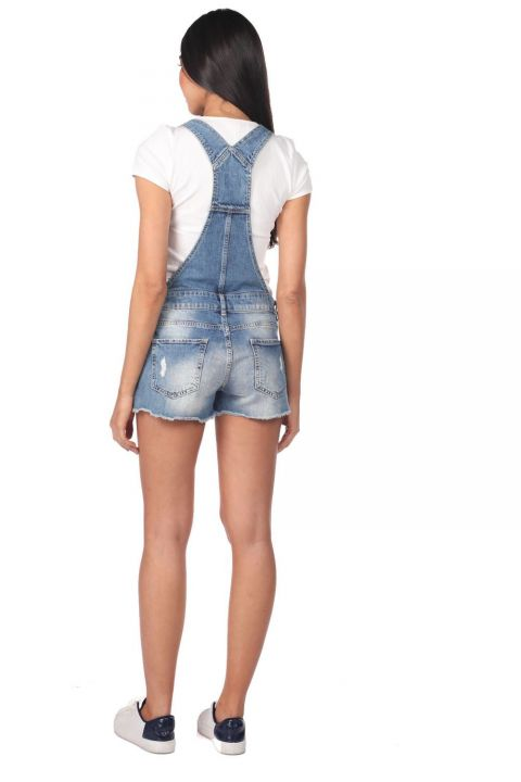 Синий Белый женский джинсовый комбинезон короткий