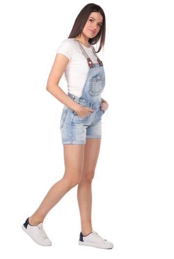 Blue White Women's Jean Jumpsuit Short - Thumbnail