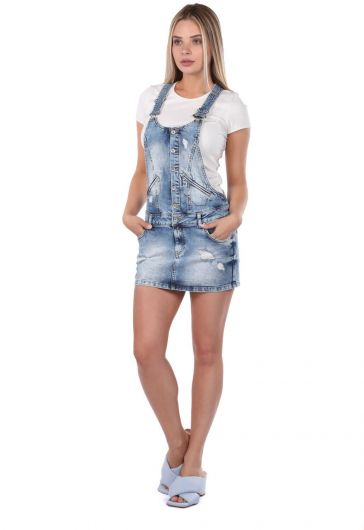 Blue White Women Jean Jumpsuit Skirt - Thumbnail