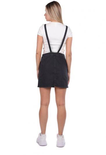 Blue White Women's Jumpsuit Skirt - Thumbnail