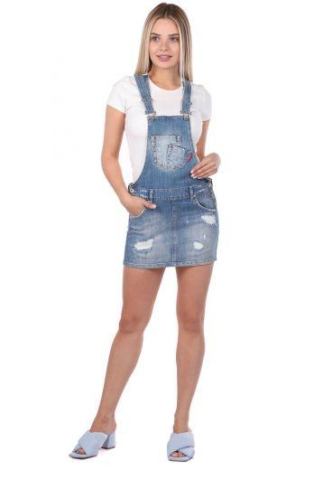 Blue White Women Jean Jumpsuit Skirt - Thumbnail