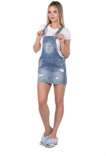 BLUE WHITE - Blue White Women Jean Jumpsuit Skirt (1)