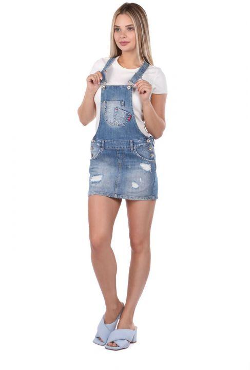 Blue White Women Jean Jumpsuit Skirt