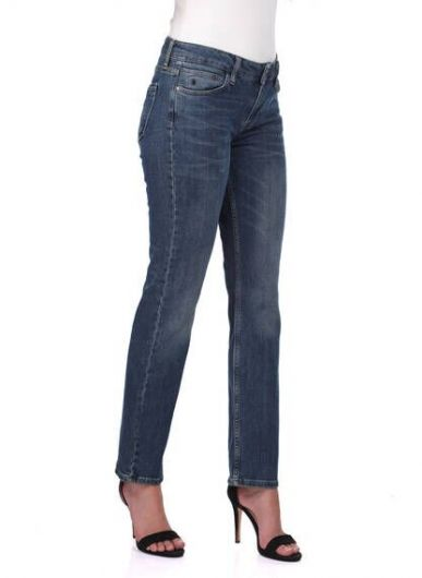 BLUE WHITE - بنطلون جينز بقصة مستقيمة زرقاء بيضاء للنساء (1)