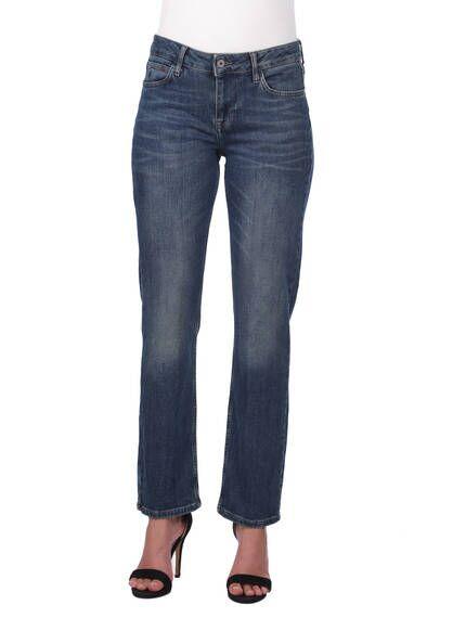 Blue White Women's Straight Cut Plus Size Jean Trousers