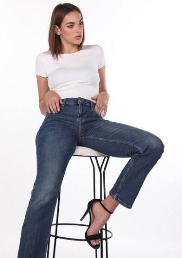 Blue White Women's Straight Cut Plus Size Jean Trousers - Thumbnail