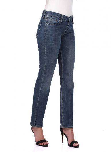 BLUE WHITE - بنطلون جينز بقصة مستقيمة زرقاء وبيضاء نسائية (1)